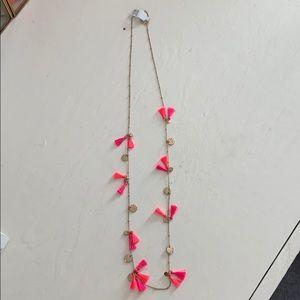 Neon pink long tassel necklace